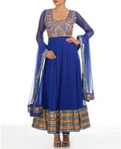 Striking Blue Suit with Golden Metallic Thread work
