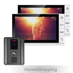"New 9"" Color Screen Video Door Phone Intercom System + 2 White Moniors + 1 Night Vision Doorbell Camera In Stock Free Shipping"