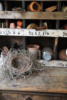 .interesting reclaimed pot shelving... needs a roof for my application...