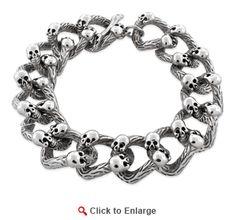 $79.99 * Stainless Steel Branch Skull Link #Bracelet