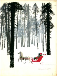 Can you tell that I am a huge fan of Ralph Hulett's Christmas card art? Back in the days when artists made commissions off of their cards, Hullet (according to his son) made almost as much off of Xmas card royalties as he did as a background animation artist for Disney!