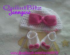 Conjunto crochet para bebe. Gorro punto malla y Zapatitos.