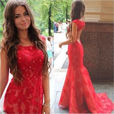 Really Cheap Prom Dresses 2016 New Red Cap Sleeves Lace Prom Dresses Tulle Applique Beaded Hollow Floor Length Party Evening Dresses Ba0560 Sequined Prom Dresses From Enjoyweddinglife, $146.6| Dhgate.Com