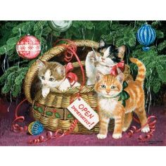 Artist: Persis Clayton Weirs This is one present that won't keep till Christmas Day; these kitty cats are ready to play, and if it's not with you than it will be with the colorful and low-hanging holiday ornaments. SunsOut offers an incredible range of jigsaw puzzles, with dynamic images and artwork from a wide roster of artists and sources. Their Large Format jigsaws feature extra large pieces for easy handling and assist puzzlers who have reduced vision. Every one of their products is…