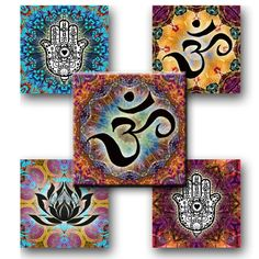 OM LOTUS HAMSA Mixed Mandalas 1x1 Square by JulryPartZ on Etsy, $3.00