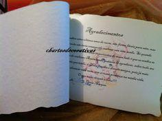 """Interior livro de honra """"Diana Marques"""" Agradecimentos"""