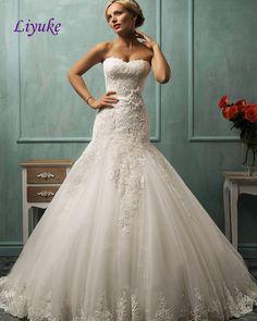 Elegant Lace Mermaid Wedding Dress with Sweep Train Bridal Gowns Grace Strapless Trumpet Bride Dress With Sash Vestido De Noiva