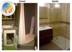 Photos avant / après d'une rénovation de salle de bain dans l'hérault