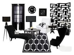 """""""Life in Black & White"""" by gabriele-bernhard ❤ liked on Polyvore featuring interior, interiors, interior design, home, home decor, interior decorating, BDI, Grandin Road, Room Essentials and Universal Lighting and Decor"""