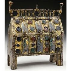 RARE AND IMPORTANT 13th CENTURY LIMOGES GILT-COPPER AND POLYCHROME ENAMEL RECTANGULAR RELIQUARY CHAS