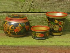 Russian hand-painted wooden cups and storage jar