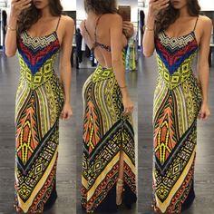 Stylish Print Open Back Maxi Slip Dress