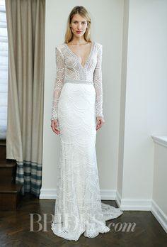 A long-sleeved, V-neck @bertabridal wedding dress | Brides.com