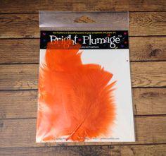 Orange Plumage Feathers 3 pcs  craft by ILoveYoYoDIYFlowers, $0.99