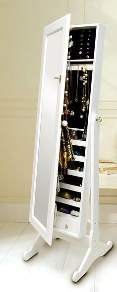 Jewelry cabinet with mirror // white wood #furniture_design