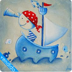cuadro infantil pirata Easy Canvas Painting, Tole Painting, Painting For Kids, Diy Painting, Art For Kids, Nursery Paintings, Nursery Art, Pirate Rock, Pirate Illustration