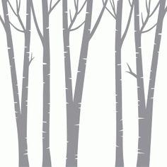 Silhouette Design Store: square birch trees