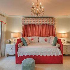 Meredith Heron Design - girl's rooms - duck egg blue pouf, scalloped bedding, pink hotel bedding, scalloped hotel bedding, pink monogrammed ...