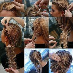 Two fishtail braids with bun