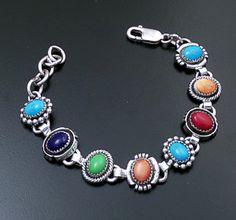 Roie Jaque (Navajo) - Multistone Mixed Bead, Twist, & Cut & File Sterling Silver Link Bracelet #43916 $490.00