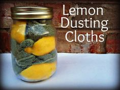 1 Cup Vinegar  1 Cup Water  1 tsp Olive Oil  1 Lemon Rind  2-3 Microfiber Cloths  Jar with a lid    Directions: Mix the vinegar, water, and oil, in a bowl. Soak your microfiber cloths in the solution, squeeze out excess water, and place in the jar with lemon rinds wrapped around.
