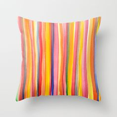 Watercolour Stripes Throw Pillow by Ornaart | Society6 #art  #design #awesome #print  #poster  #color  #cool  #gift  #gift #ideas  #hipster  #funny  #Illustration  #threadless  #drawing  #girls  #beautiful #humor