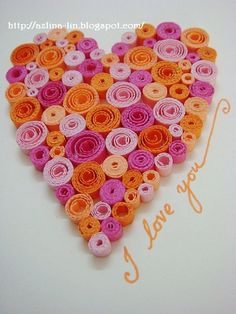 Lin Handmade Greetings Card: Quilled heart pattern #5