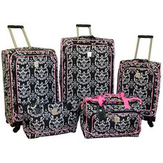 This Jenni Chan luggage set includes three spinner wheeled upright suitcases, a duffel bag and a computer tote. The beautifully patterned damask set is made of durable polyester and fully lined.