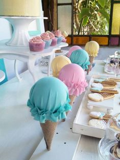 Summer Ice Cream Party Summer Ice Cream Party details to LOVE…. ♥ The sweetest Ice Cream Parlour party backdrop ♥ Single ganache topped cake with ice cream topper ♥ Gorgeous ice cream shaped …