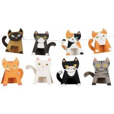 """Create your very own feline friends with our playful cat kit! String them together as garland or write names on each for place cards. Kit makes 12 cats (approximately 5"""" x 7"""" each)."""