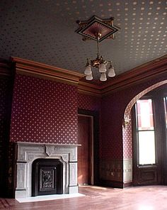 """""""This room was once the most formal and probably the most beautiful rooms in the house. This room is where visitors were once seated by the Butler and would wait to be received by the Master and his Wife. There was even a servant's passage way to this room so the servant's could bring guests food and drinks without having to pass through the rest of the house."""" restored 1875 Eastlake Victorian home, New Jersey"""