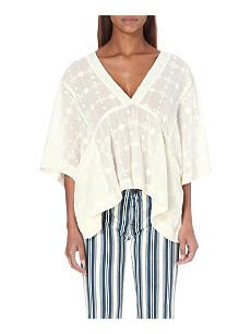 FREE PEOPLE Amber Skies embroidered cotton blouse