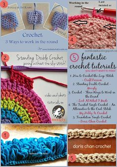 Crochet Tutorials you may just want to save! How to Crochet the Loop Stitch - Craft Passion Standing Double Crochet - Moogly Crochet - Three Ways to Work in the Round - Look At What I Made Crochet Motifs, Knit Or Crochet, Learn To Crochet, Crochet Crafts, Yarn Crafts, Double Crochet, Crochet Stitches, Crochet Projects, Crochet Tutorials