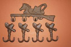 (5) PCS,LG, WESTERN...3- HOOKS, FOUR WALL HOOKS,COUNTRY DECOR,STARS,HORSES,RANCH #CASTIRON