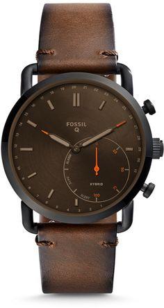 Fossil Q Men Commuter Dark Brown Leather Hybrid Smart Watch Stylish Watches, Luxury Watches, Cool Watches, Fossil Watches For Men, Casual Watches, Smartwatch, Android Wear, Bracelet Cuir, Dark Brown Leather
