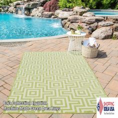 #OrianRugs Baja Collection Egyptian Machine Made Green #AreaRugs Bold and exciting colors and patterns allow trend-conscious customers to create their ultimate indoor/outdoor oasis. Baja thrives on simple graphic patterns with a refreshing twist...