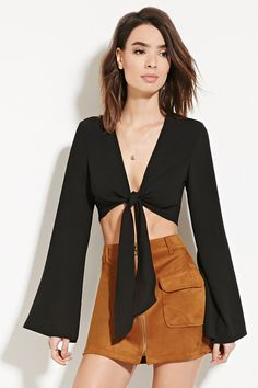 Forever 21 Contemporary - A woven crop top with a self-tie front hem and long bell sleeves.
