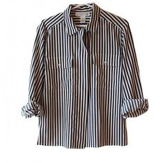Vtg black and white striped button down pocket blouse 90's... (€22) ❤ liked on Polyvore featuring tops, blouses, shirts, long sleeves, black and white long sleeve shirt, button down shirts, long sleeve shirts, black and white striped shirt and pocket shirts