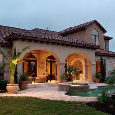 Style homes, spanish style homes, spanish house, spanish style interi Mediterranean Style Homes, Spanish Style Homes, Spanish House, Spanish Patio, Spanish Exterior, Tuscan Style Homes, Hacienda Style, Big Houses, House Goals