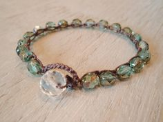 Crochet bracelet  slashKnots Stackers ' Mystic Teal' by slashKnots,