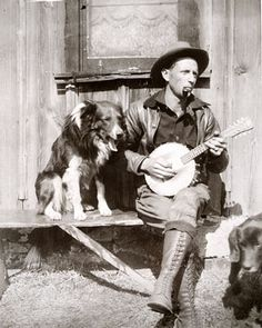 Oklahoma ~ Dad played his blues away on the Sears banjo-mandolin with our empathetic collie & Lab listening on...