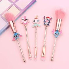 I am obsessed with makeup and makeup brushes, so of course, I'm in love with this adorable Stitch Makeup Brush Set! Even though I am not a makeup expert, Make Makeup, Pink Makeup, Clean Makeup, Best Makeup Brushes, Makeup Brush Set, Stitches Makeup, Disney Eye Makeup, Ropa Interior Calvin, Sephora
