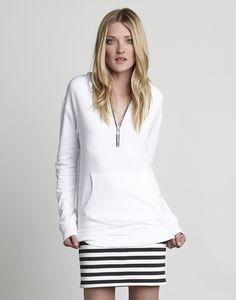 Zip Fleece Hoodie   Off White Kangaroo Pocket Hoodie   Red 23 Women's Clothing