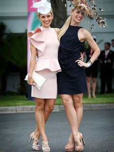 Sisters Bridget & Tiffiny Hall - Birdcage Fashion. Melbourne Cup 2014 Race Day Outfits, Derby Outfits, Crazy Outfits, Melbourne Cup Dresses, Melbourne Cup Fashion, Race Day Fashion, Races Fashion, Kentucky Derby Outfit, Tea Party Outfits