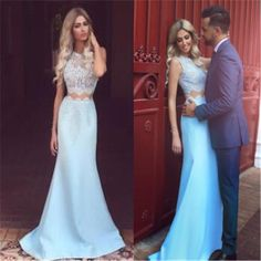 Fashion Two Pieces Strapless Mermaid Elegant Charming Evening Cocktail Prom Dresses Online,PD0190