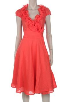 Coral, ruffles, belted at the waist...could it be more perfect?