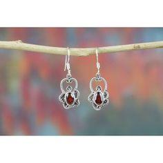 Remarkable Handmade Earrings In Garnet Stone via Polyvore featuring jewelry, earrings, stone jewelry, stone jewellery, garnet jewellery, garnet stone jewelry and garnet earrings
