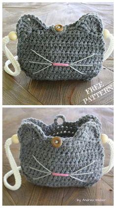 Crochet Cat Purse Free crochet patterns - knitting is as easy as . - crochet Crochet Cat Purse Free crochet patterns – knitting is as easy as … – crochet patterns – Crochet Amigurumi, Crochet Tote, Crochet Handbags, Crochet Purses, Crochet Gifts, Cute Crochet, Crochet For Kids, Knit Crochet, Easy Crochet