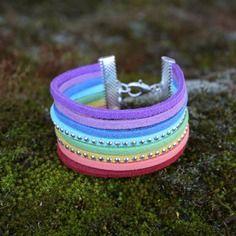 Bracelet manchette enfant arc-en-ciel - multicolore - so girly strass - métal argenté