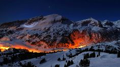 Night Mountain Wallpaper Light Pictures